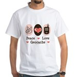 Peace Love Geocache Geocaching White T-Shirt