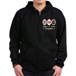 Peace Love Geocache Geocaching Zip Hoodie (dark)