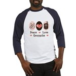 Peace Love Geocache Geocaching Baseball Jersey