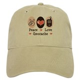 Peace Love Geocache Geocaching Baseball Cap