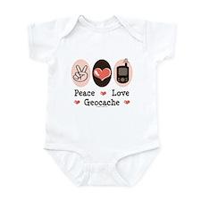 Peace Love Geocache Geocaching Infant Bodysuit