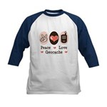 Peace Love Geocache Geocaching Kids Baseball Tee