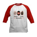 Peace Love Geocache Geocaching Kids Jersey T shirt