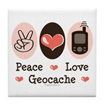 Peace Love Geocache Geocaching Tile Coaster