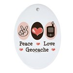 Peace Love Geocache Geocaching Oval Ornament