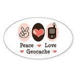 Peace Love Geocache Geocaching Oval Sticker