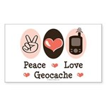 Peace Love Geocache Geocaching Rectangle Sticker
