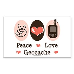 Peace Love Geocache Rectangle Sticker 10 pk)