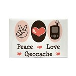 Peace Love Geocache Geocaching Rectangle Magnet