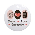 Peace Love Geocache Geocaching Ornament (Round)
