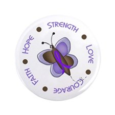 """Hope Courage Butterfly 2 EC 3.5"""" Button"""