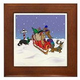 North Pole Dachshunds Framed Tile
