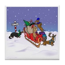North Pole Dachshunds Tile Coaster