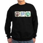 Peace, Love, Recycling Sweatshirt (dark)