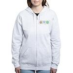 Peace, Love, Recycling Women's Zip Hoodie