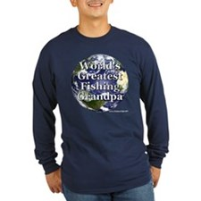 Greatest Fishing Grandpa Long Sleeve Dark Tee