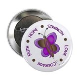"Hope Courage 1 Butterfly 2 PURPLE 2.25"" Button"