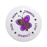 Hope Courage 1 Butterfly 2 PURPLE Ornament (Round)