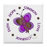 Hope Courage 1 Butterfly 2 PURPLE Tile Coaster