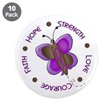 "Hope Courage 1 Butterfly 2 PURPLE 3.5"" Button (10"