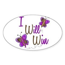 I Will Win 1 Butterfly 2 PURPLE Oval Decal