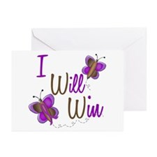 I Will Win 1 Butterfly 2 PURPLE Greeting Cards (Pk