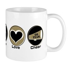 Peace Love Cheer BkGl Mug