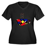 MONDRIAN COFFEE Women's Plus Size V-Neck Dark T-Sh