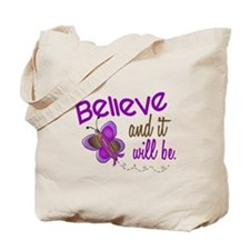 Believe 1 Butterfly 2 PURPLE Tote Bag