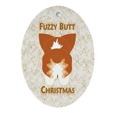 Red Pem Fuzzy Butt Christmas Oval Ornament