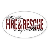 Son My Hero - Fire &amp; Rescue Oval Decal