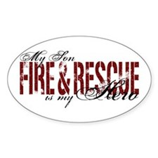 Son My Hero - Fire & Rescue Oval Stickers
