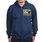 Duckwing Bantam Chickens Zip Hoodie (dark)