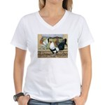 Duckwing Bantam Chickens Women's V-Neck T-Shirt