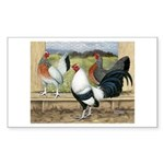 Duckwing Bantam Chickens Rectangle Sticker 50 pk)
