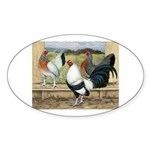 Duckwing Bantam Chickens Oval Sticker