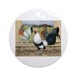 Duckwing Bantam Chickens Ornament (Round)