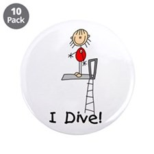 "Girl I Dive 3.5"" Button (10 pack)"