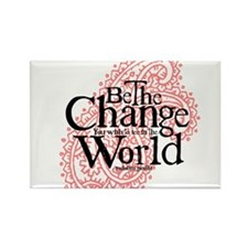 Paisley Pink - Be the change Rectangle Magnet (10