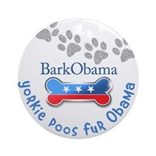 Yorkie Poos fur Obama Ornament (Round)