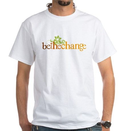Be the change - Earthy - Floral White T-Shirt