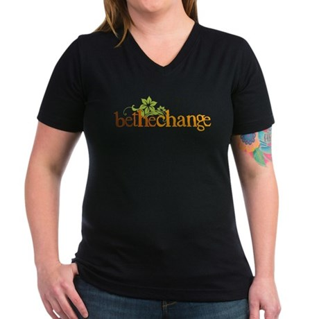 Be the change - Earthy - Floral Women's V-Neck Dar