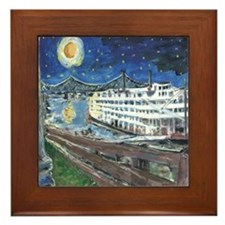 Starry Night Riverboat Framed Tile