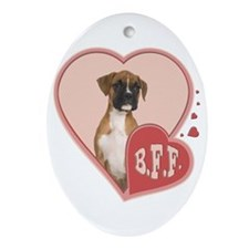 BFF Boxer Puppy Oval Ornament