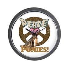 Peace Love and Ponies Wall Clock