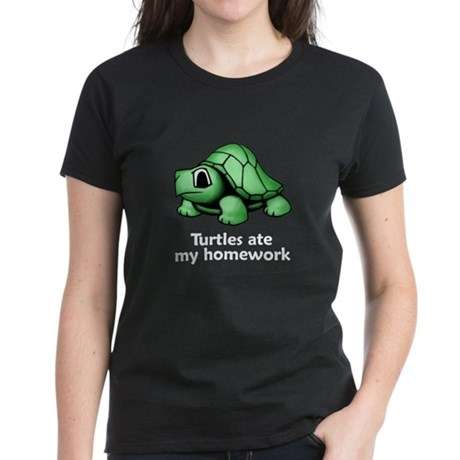 Turtles ate my homework Women's Dark T-Shirt