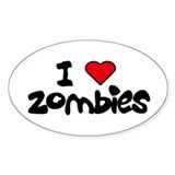 I LOVE ZOMBIES Oval Decal