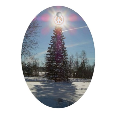 Christmas Peace Oval Ornament