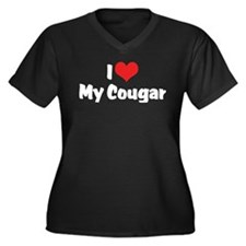 I Love My Cougar Women's Plus Size V-Neck Dark T-S