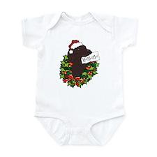 Chocolate Labrador Santa Infant Bodysuit